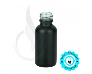 1oz Matte Black Boston Round Bottle 20-400
