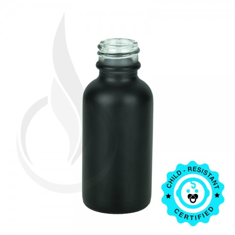 image for 1oz Matte Black Boston Round Bottle 20-400