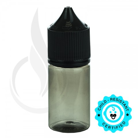 image for V3 - 30ML PET TRANSPARENT BLACK STUBBY CHUBBY GORILLA BOTTLE W/ CRC/TE SOLID BLACK CAP