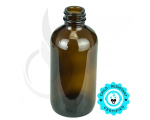 8oz Amber Boston Round Glass Bottle 28-400