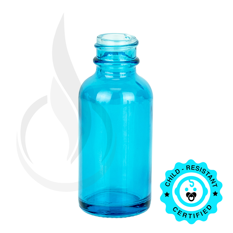 1oz Sky Blue Boston Round Bottle 20-400