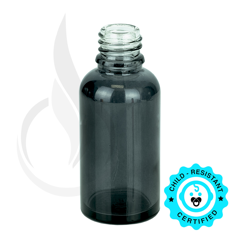 30ml Transparent Black Euro Round Glass Bottle 18-415
