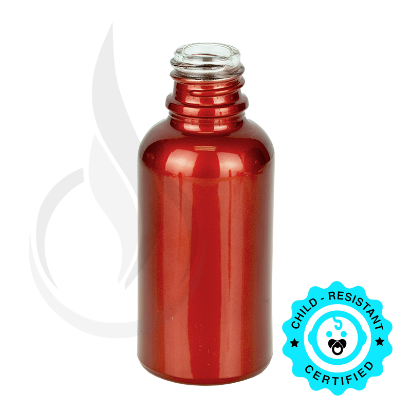 30ml Shiny Red Euro Round Glass Bottle 18-415