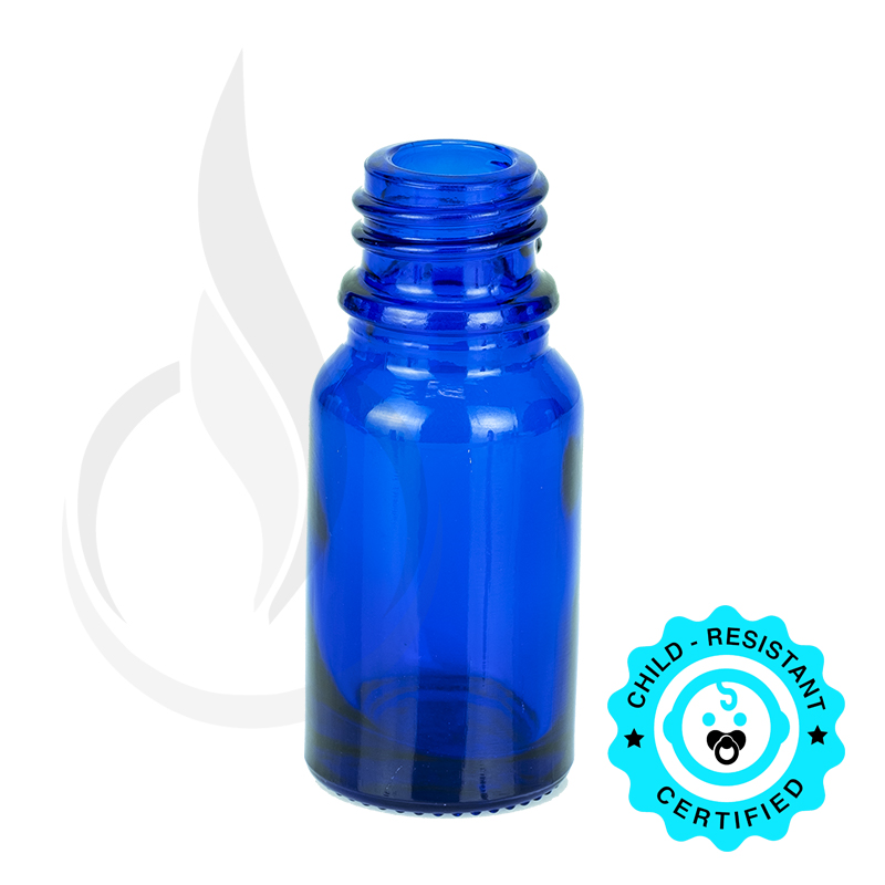 10ml Cobalt Blue Euro Round Glass Bottle 18-415