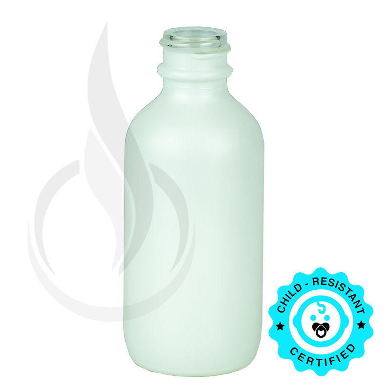 2oz Matte White Glass Bottle 20-400