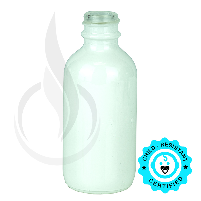 2oz Shiny White Boston Round Glass Bottle 20-400