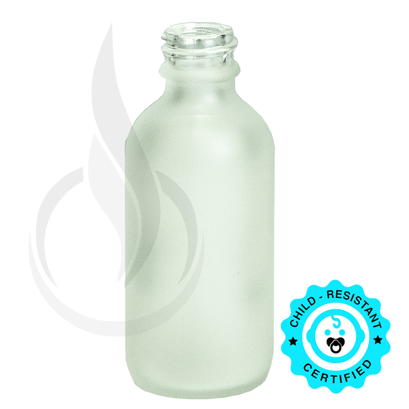 2oz Frosted Boston Round Glass Bottle 20-400