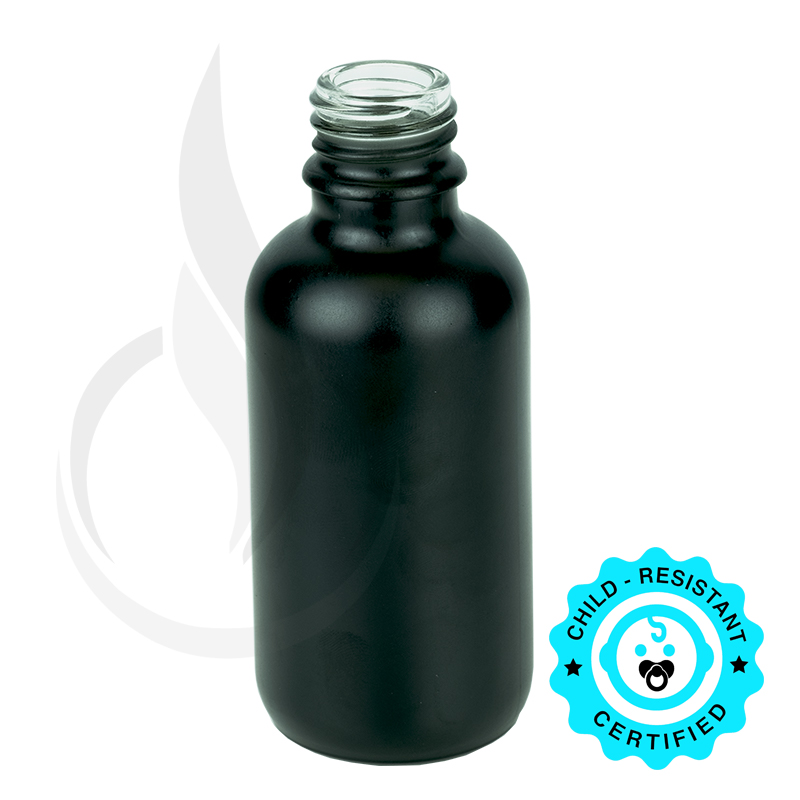 60ml Matte Black Boston Round Hybrid Bottle 20-415