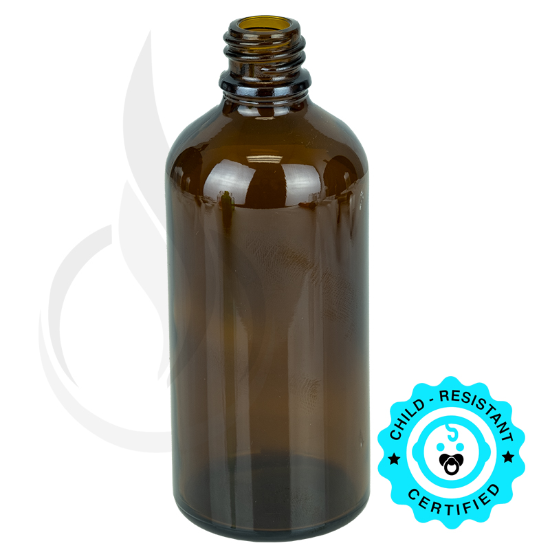 100ml Amber Euro Round Bottle 18-415