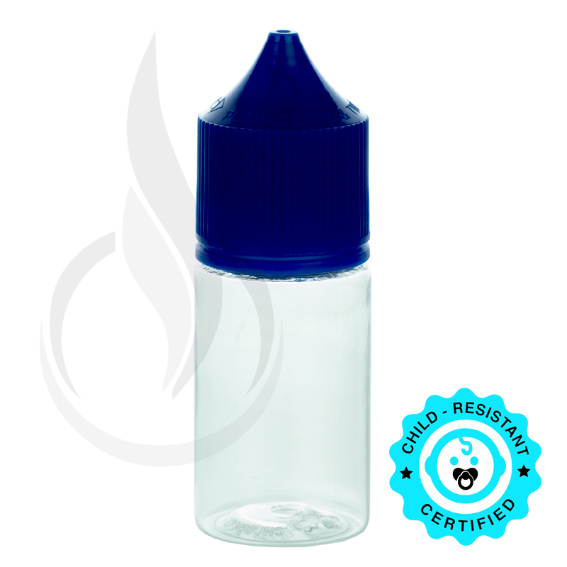 V3 - 30ML PET CLEAR STUBBY CHUBBY GORILLA BOTTLE W/ CRC/TE SOLID BLUE CAP