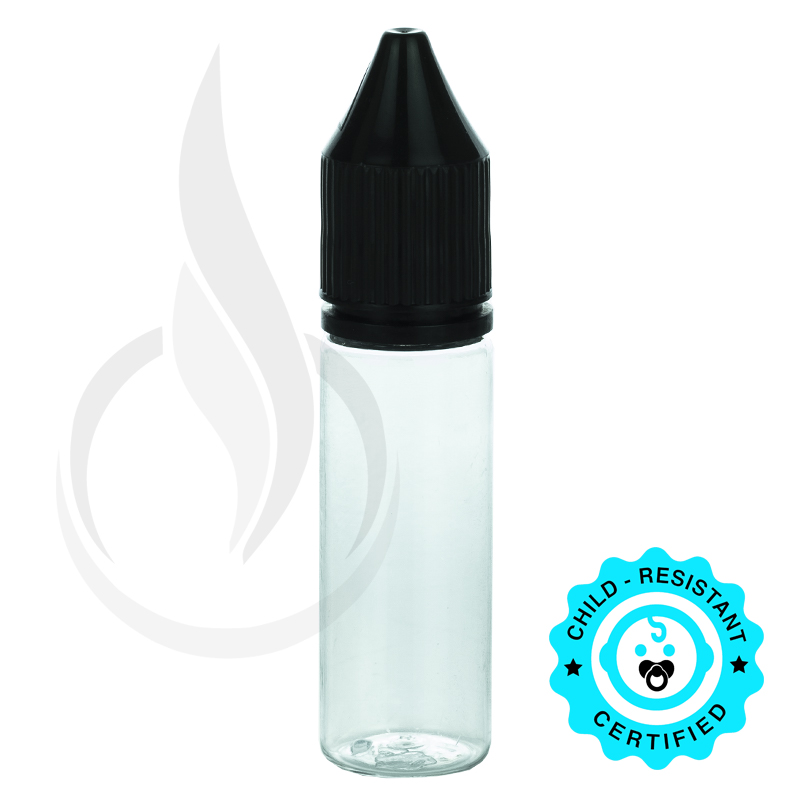 V3 - 15ML PET CLEAR CHUBBY GORILLA BOTTLE W/ CRC/TE SOLID BLACK CAP(1000/cs)