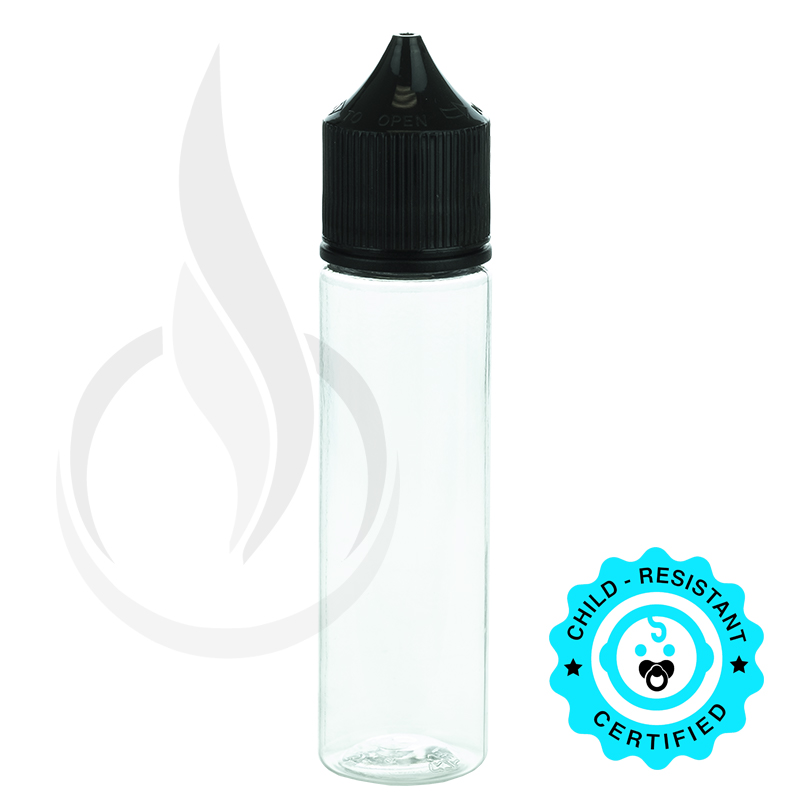 V3 - 60ML PET CHUBBY GORILLA CLEAR BOTTLE W/ CRC/TE SOLID BLACK CAP