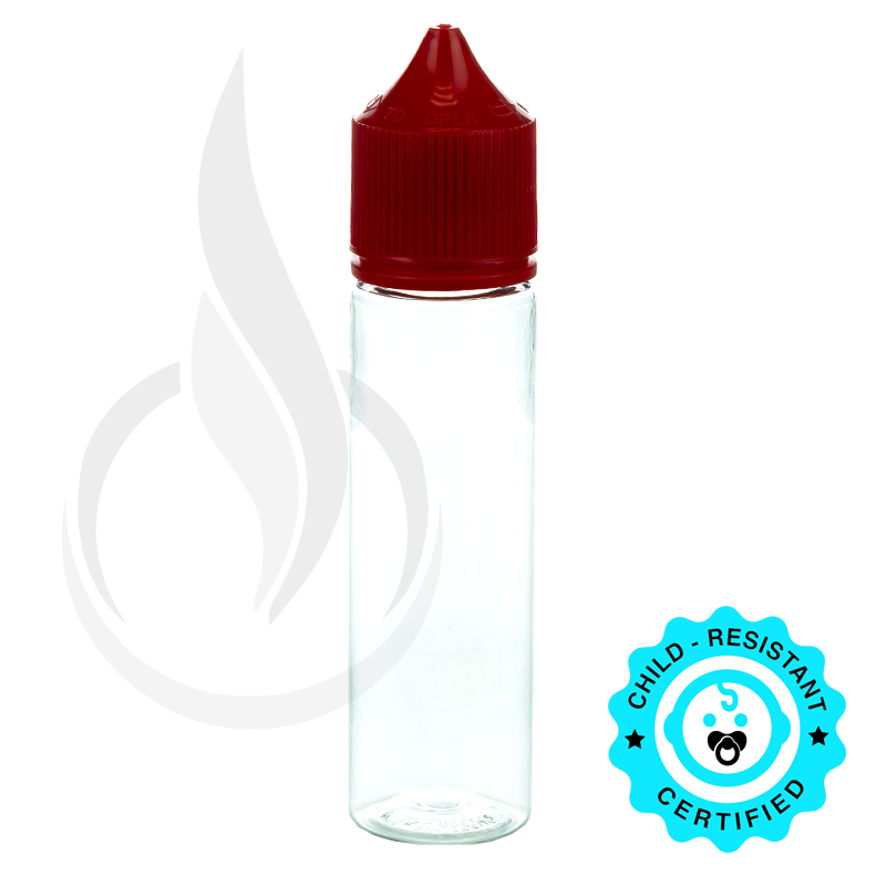 V3 - 60ML PET CHUBBY GORILLA CLEAR BOTTLE W/ CRC/TE SOLID RED CAP