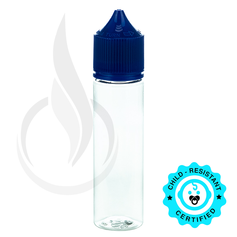 V3 - 60ML PET CHUBBY GORILLA CLEAR BOTTLE W/ CRC/TE SOLID BLUE CAP