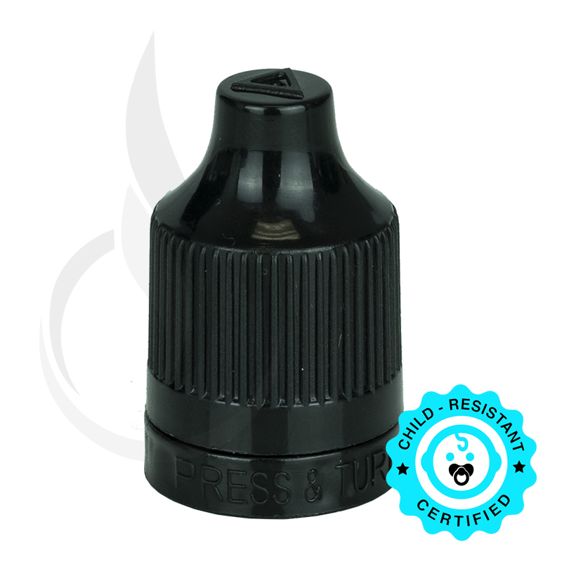 Black CRC (Child Resistant Closure) Tamper Evident Bottle Cap with TIPS INCLUDED but SEPERATED