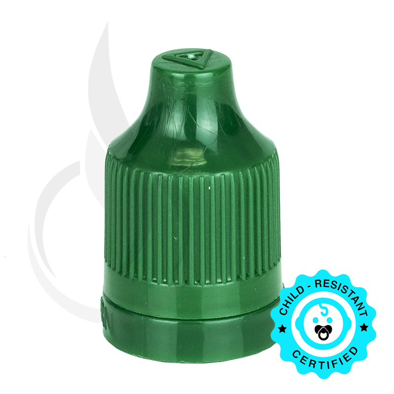 Dark Green CRC (Child Resistant Closure) Tamper Evident Bottle Cap with Tip