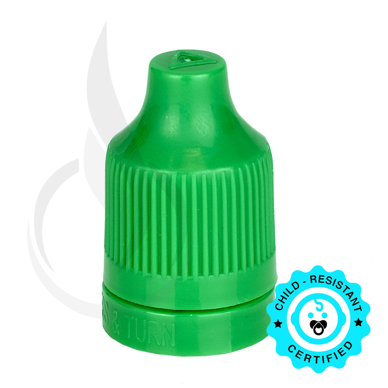 Green CRC (Child Resistant Closure) Tamper Evident Bottle Cap with Tip(5000/cs)