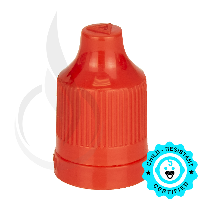Red CRC (Child Resistant Closure) Tamper Evident Bottle Cap with TIPS INCLUDED but SEPARATED