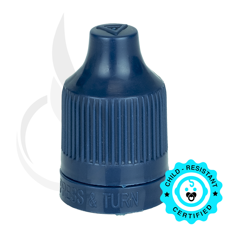 Navy CRC (Child Resistant Closure) Tamper Evident Bottle Cap with Tip