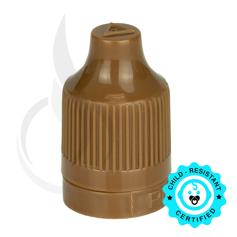 Brown CRC (Child Resistant Closure) Tamper Evident Bottle Cap with Tip