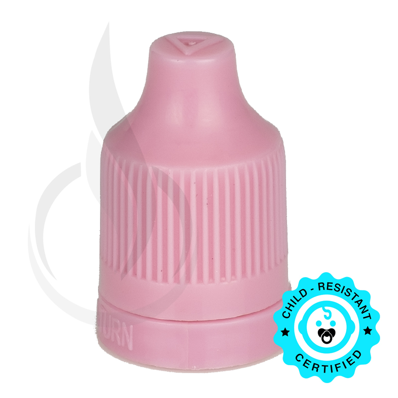 Pink CRC (Child Resistant Closure) Tamper Evident Bottle Cap with Tip