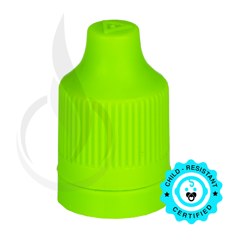 Lime Green CRC (Child Resistant Closure) Tamper Evident Bottle Cap with Tip