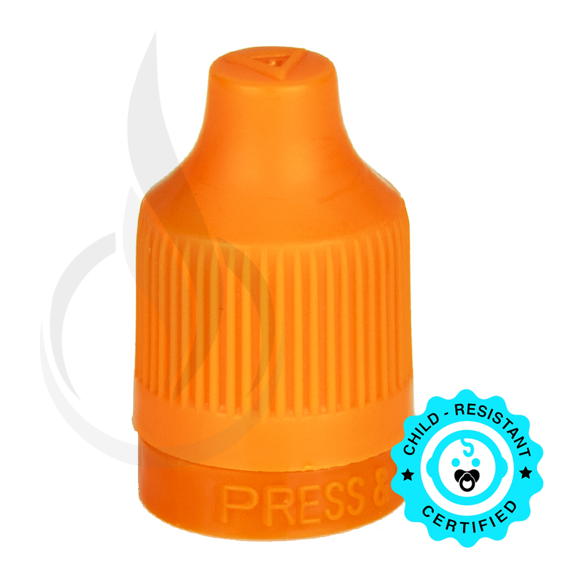 Orange CRC (Child Resistant Closure) Tamper Evident Bottle Cap with Tip