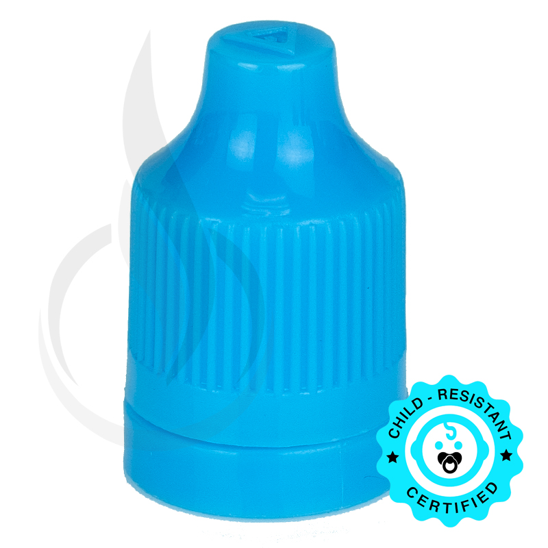 Light Blue CRC (Child Resistant Closure) Tamper Evident Bottle Cap with Tip
