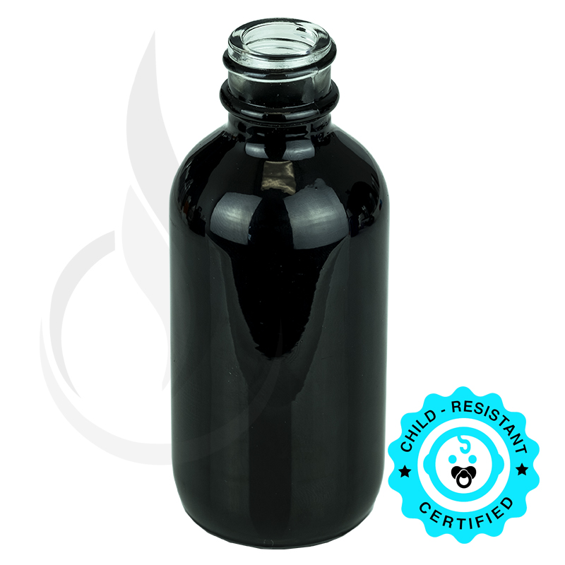 2oz Shiny Black Glass Bottle 20-400