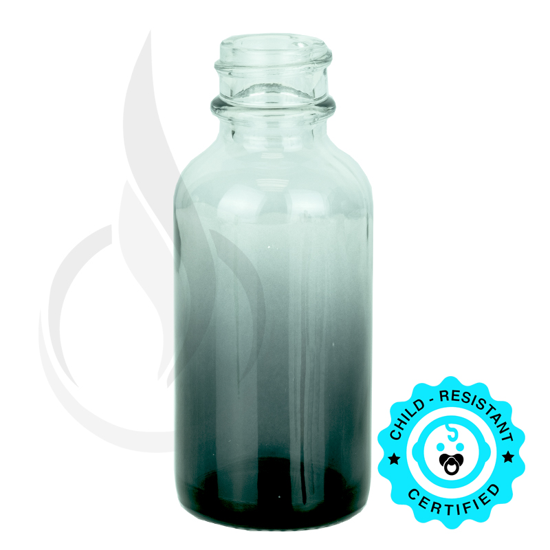 1oz Faded Black Boston Round Bottle 20-400