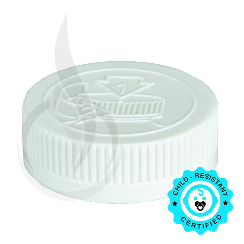 White CRC (Child Resistant Closure) Cap 45-400 Universal HIS Liner HS035