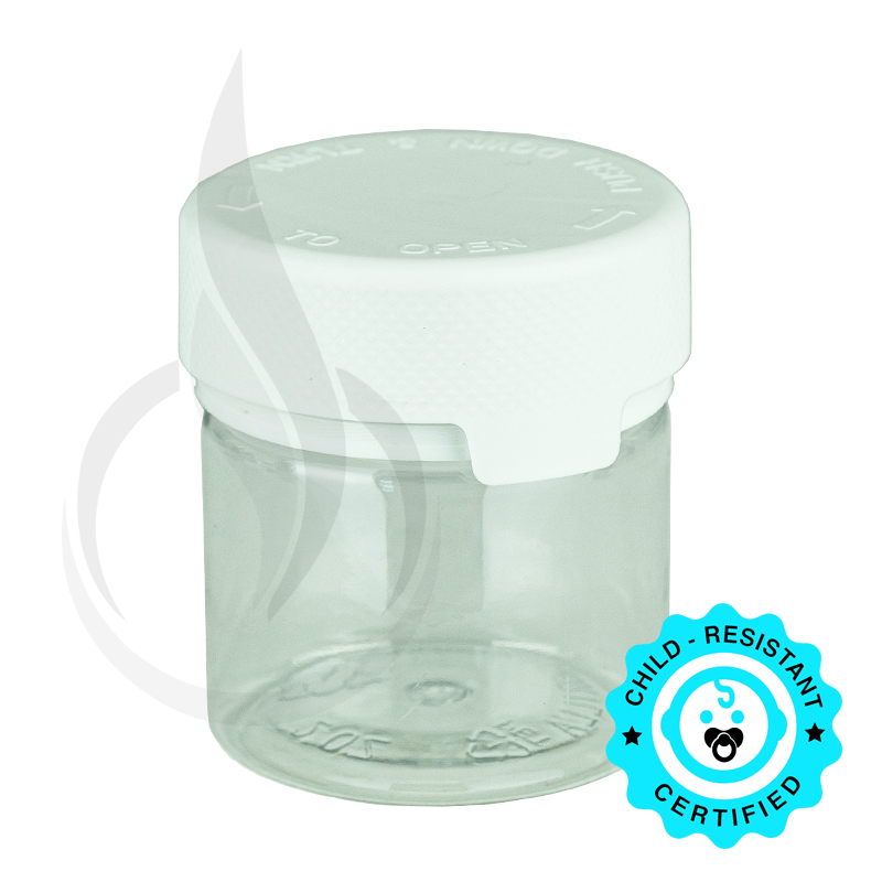 2oz PET Aviator Container TE/CRC Clear w/Solid White Cap(500/cs)