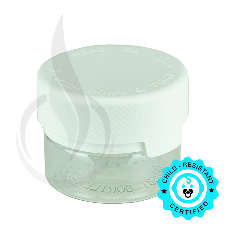 1oz PET Aviator Container TE/CRC Clear w/Solid White Cap(500/cs)