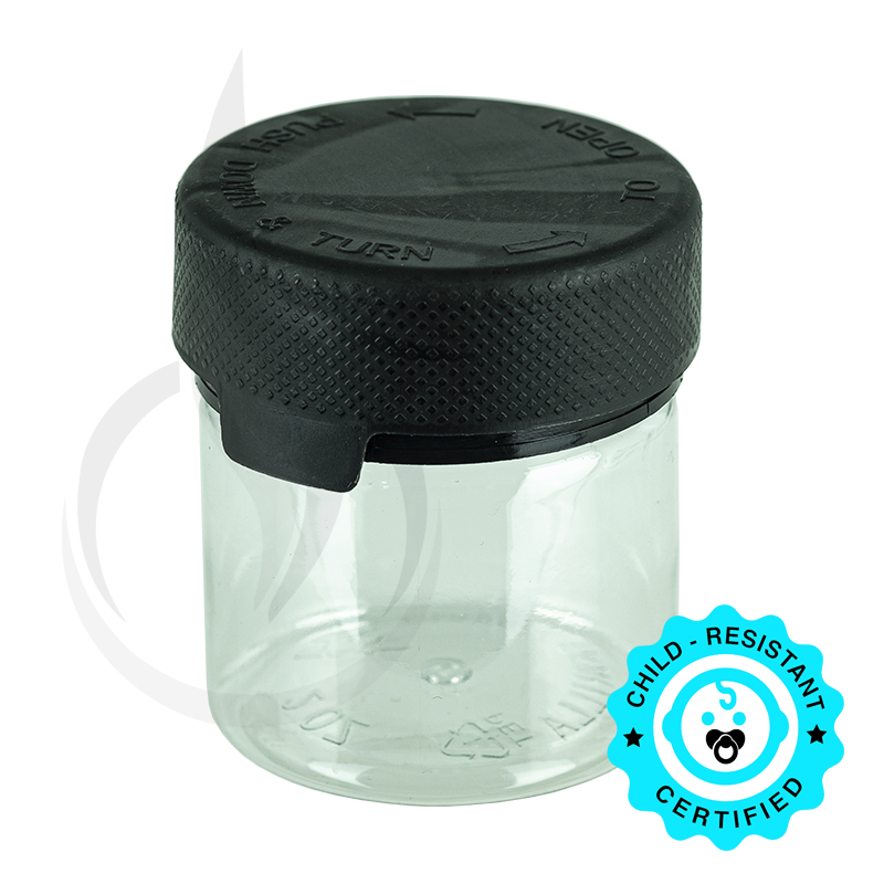 2oz PET Aviator Container TE/CRC Clear w/Solid Black Cap(500/cs)