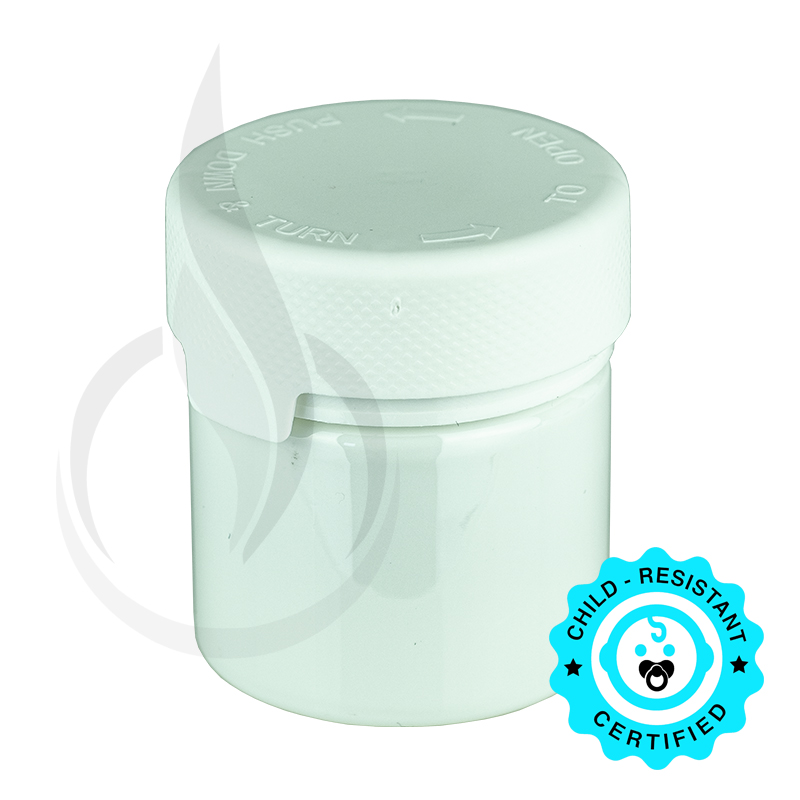 2oz PET Aviator Container TE/CRC White w/Solid White Cap(500/cs)
