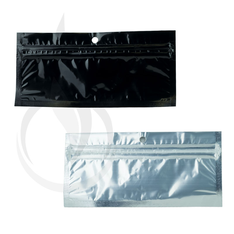 "Hanging Zip Bag - Clear Front with Black Back - 5"" x 1.75"""