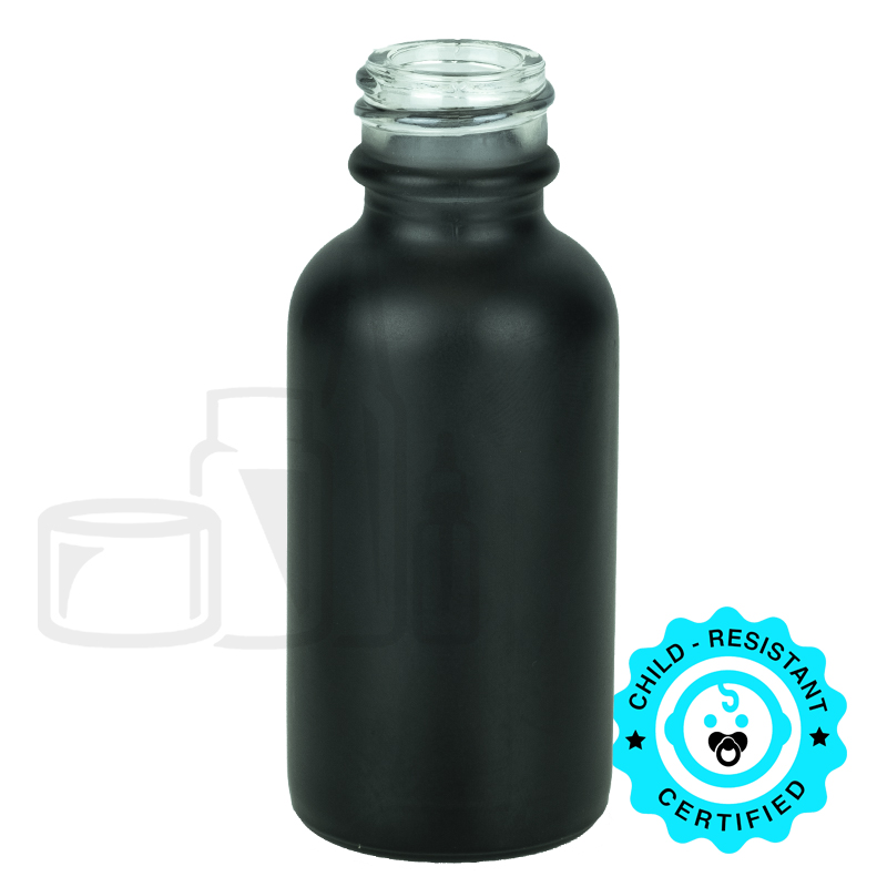 1oz Matte Black Boston Round Bottle 20-400(360/cs)
