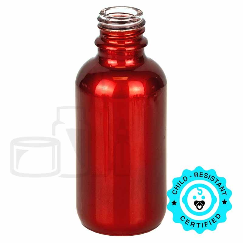 60ml Shiny Red Boston Round Hybrid Bottle 20-415(240/cs)