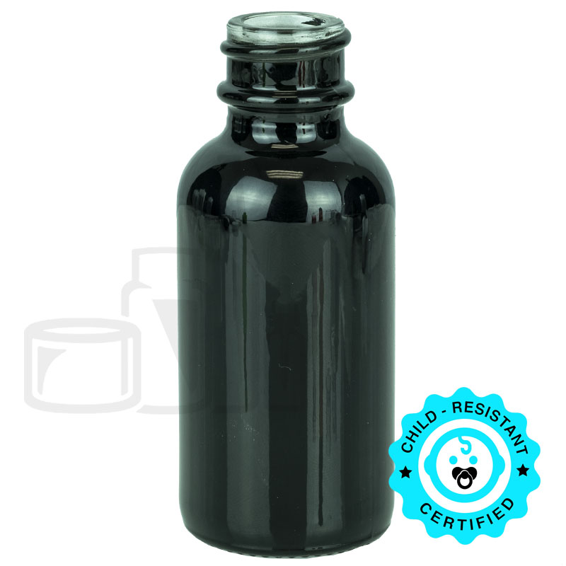1oz Shiny Black Boston Round Bottle 20-400(360/cs)