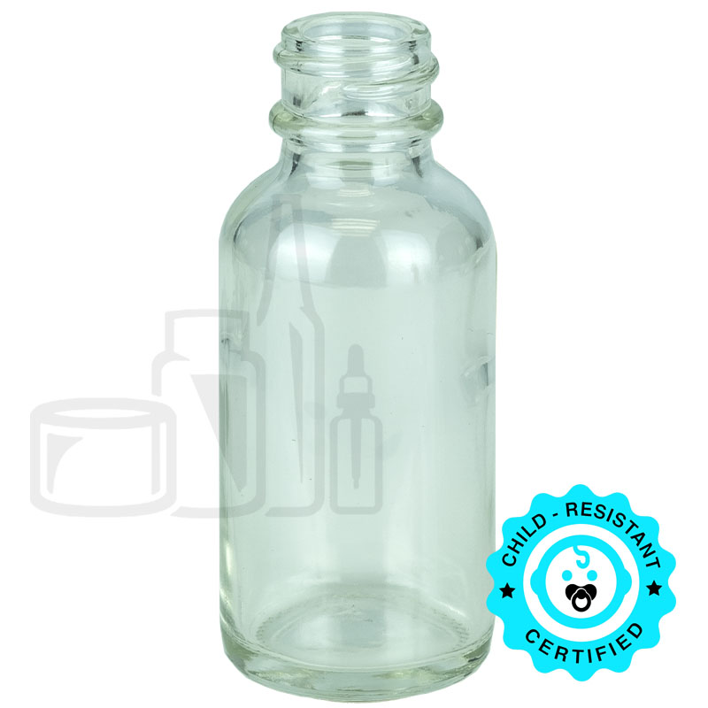 1oz Clear Boston Round Bottle 20-400