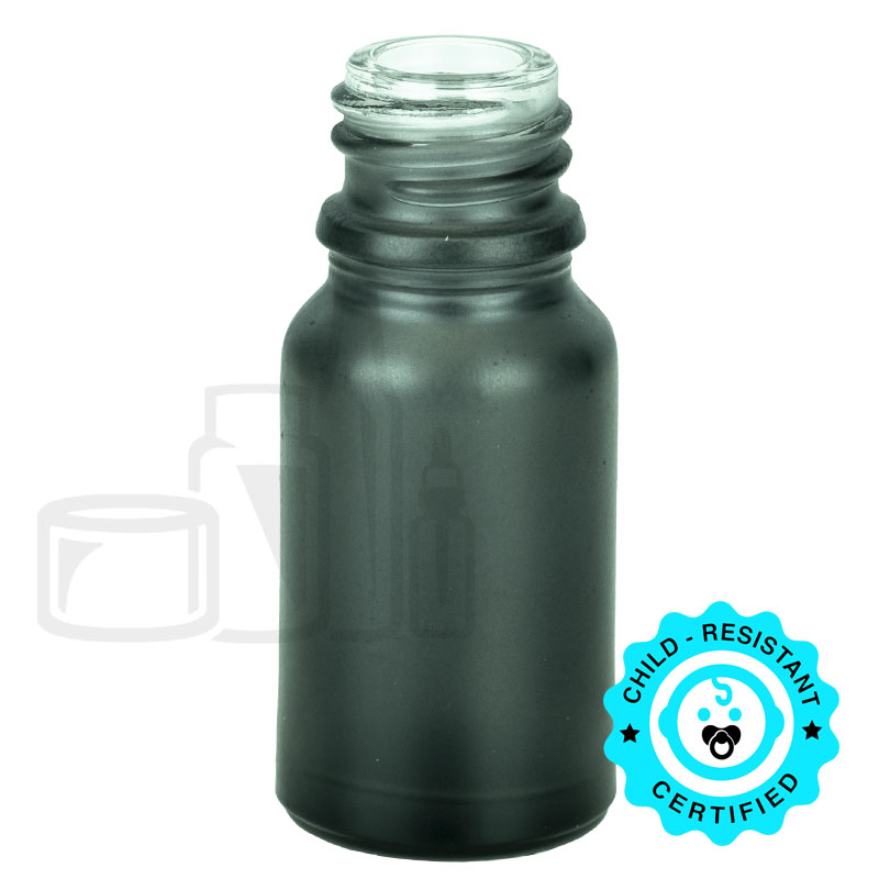 10ml Matte Black Euro Round Glass Bottle 18-415(768/cs)