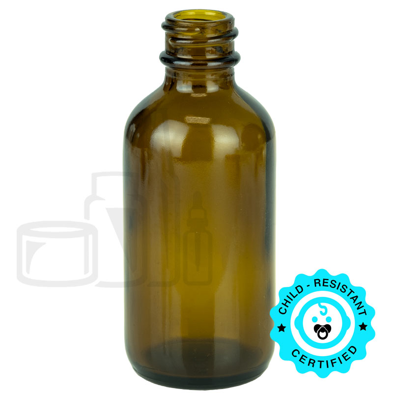 2oz Amber Boston Round Bottle 20-400