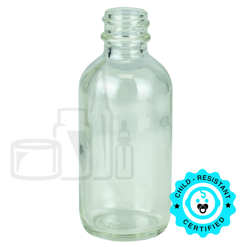 2oz Clear Boston Round Bottle 20-400