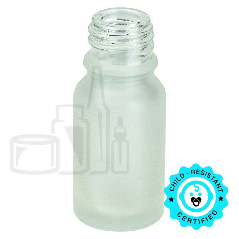 10ml Frosted Clear Euro Round Glass Bottle 18-415