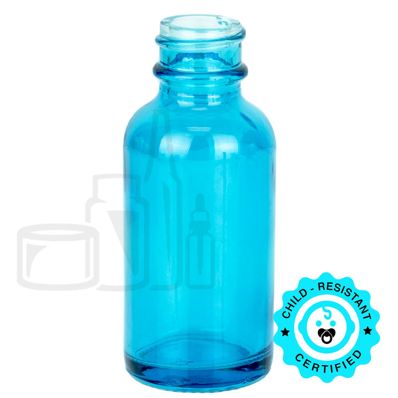 1oz Sky Blue Boston Round Bottle 20-400(360/cs)