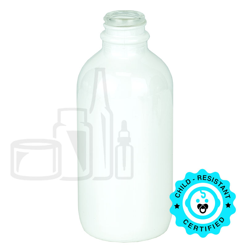 4oz Matte White Boston Round Bottle 22-400