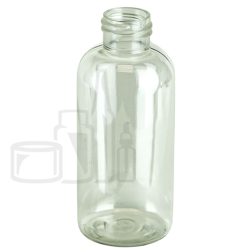 4oz CLEAR Boston Round PET Bottle 24-410 (500/cs)