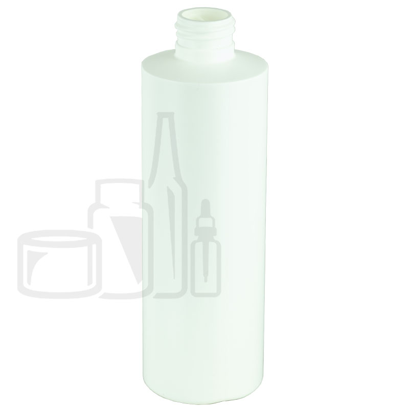 8oz HDPE White Cylinder Bottle 24-410(347/cs)