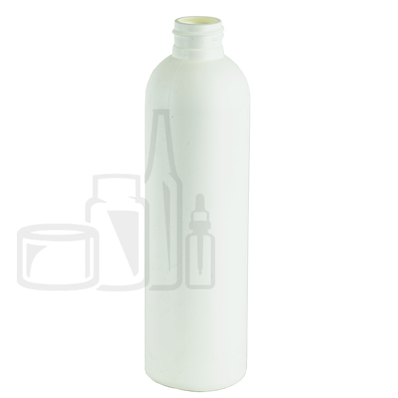8oz HDPE White Cosmo/Bullet Bottle 24-410(468/cs)