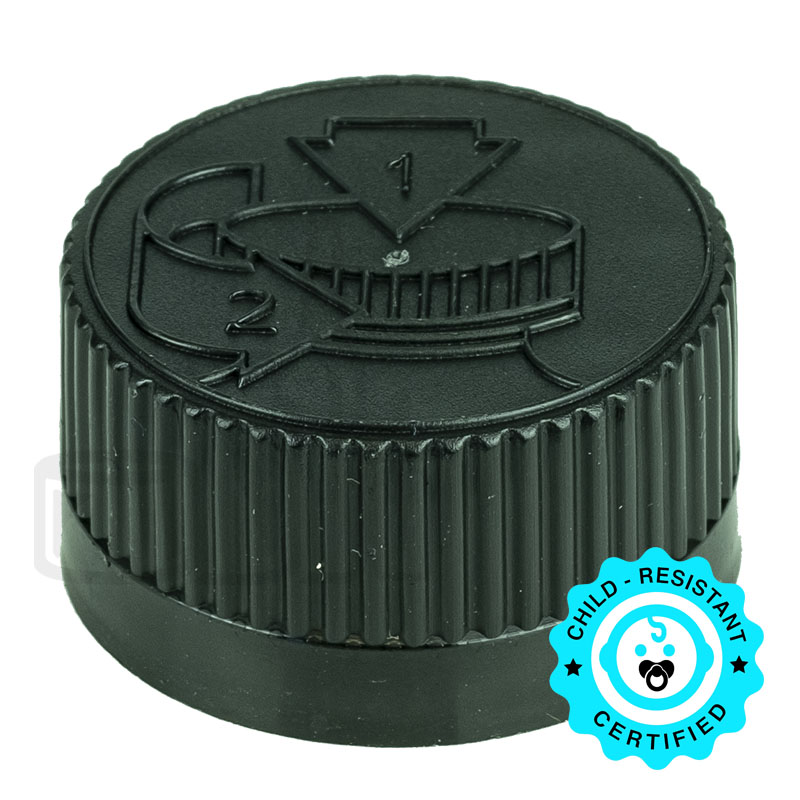 Black CRC (Child Resistant Closure) Cap 20-400 PS22 Liner
